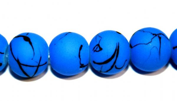 42pieces x 10mm blue colour rubber coated glass beads with black abstract design -- 3005010